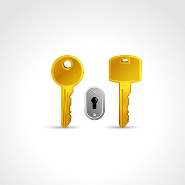 Golden key and keyhole vector