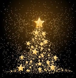 Golden stars with christmas tree vector
