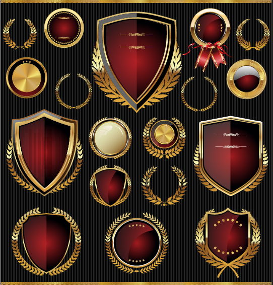 Golden with red labels and laurel wreath