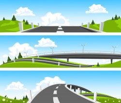 Grassland and road vector
