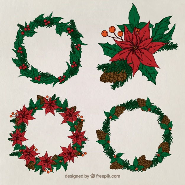 Great pack of four christmas wreaths Vector