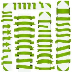 Green ribbon banners vectors 01