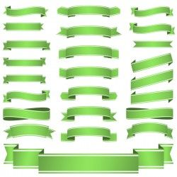Green ribbon banners vectors 03
