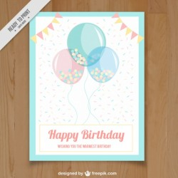 Greeting card with balloons and garlands in pastel colors