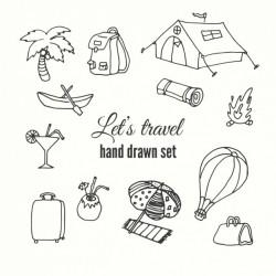 Hand draw travel element set