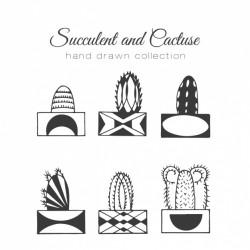 Hand drawn cactus with pot set