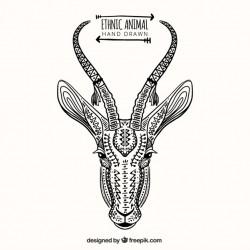 Hand drawn ethnic deer sketch
