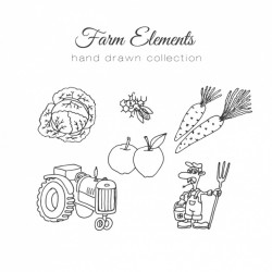 Hand drawn farm element collection