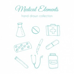 Hand drawn medical element collection