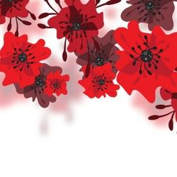 Hand drawn red flower backgrounds vector 01