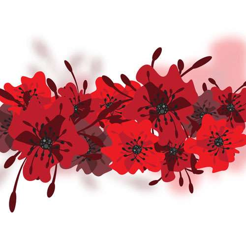 Hand drawn red flower backgrounds vector 11