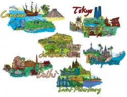 Hand drawn vector world famous city