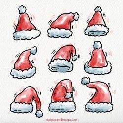Hand drawn watercolor santa claus hats