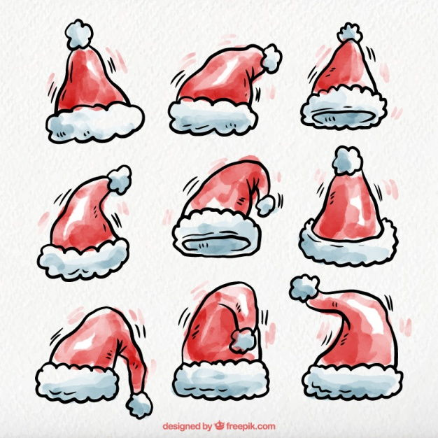 Hand drawn watercolor santa claus hats