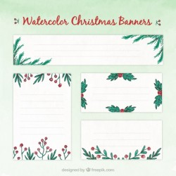 Hand painted floral christmas banners