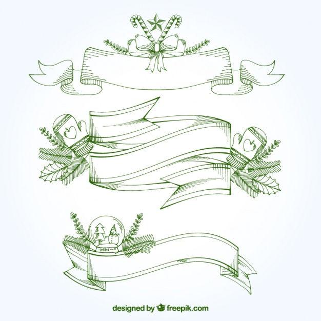 Hand-drawn pack of christmas ribbons