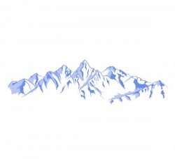 Hand-painted blue snow-capped mountains vector pictures
