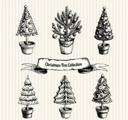 Hand-painted Christmas tree potted vector