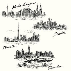 Hand-painted city illustration vector