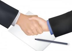 handshake and pen business vector 01