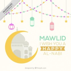 Happy mawlid background with moon and lanterns