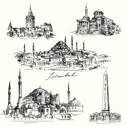 Istanbul city illustration vecto