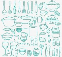 Kitchen supplies and food vector pictures