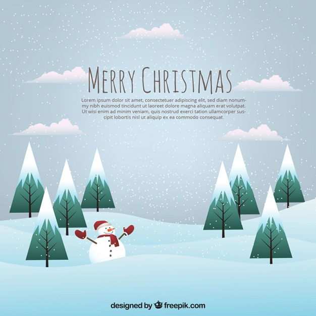 Landscape background with snowy pines and snowman Vector | Premium Download