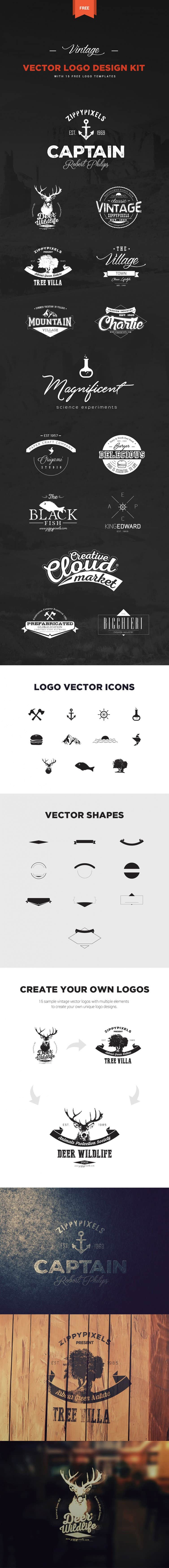 Logo Design Kit + 15 Free Logo Templates | ZippyPixels