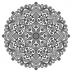 Mandala, black outline