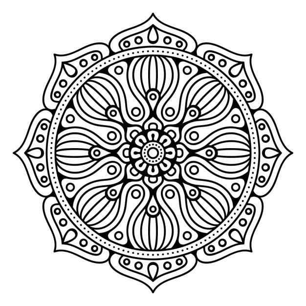 Mandala, floral, outline