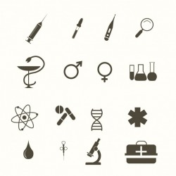Medical icons, black and white