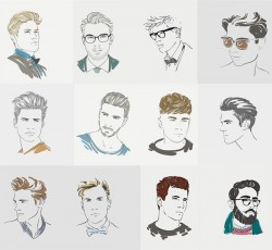 Men painted characters vector