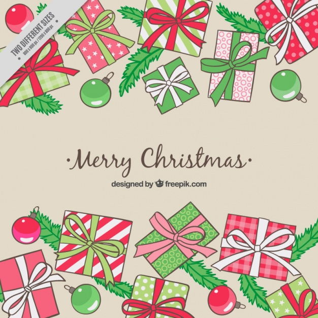 Merry christmas background of hand drawn gifts and baubles