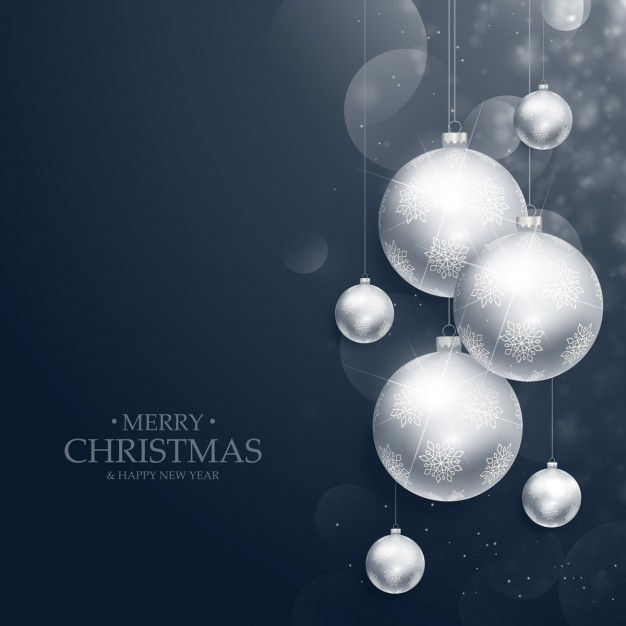 Merry christmas background of silver balls
