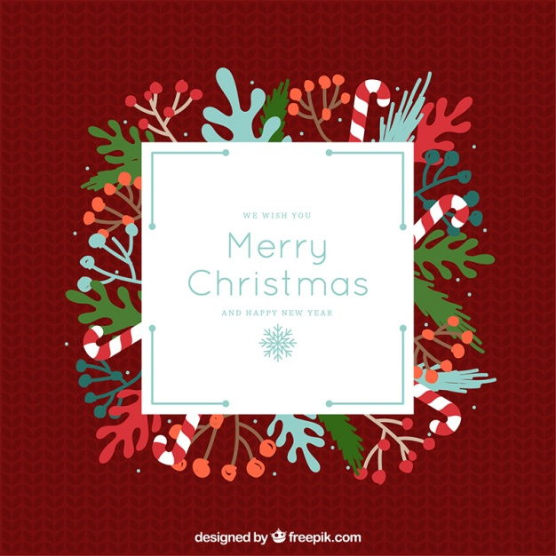 Merry christmas greeting card with natural elements in retro style