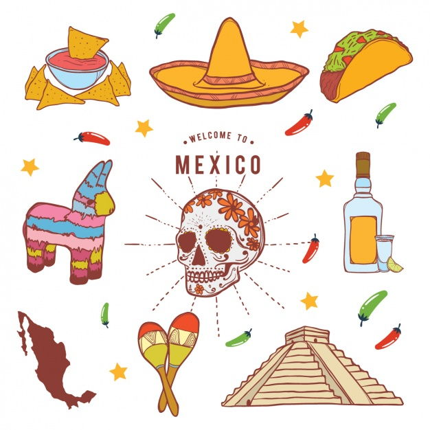 Mexican elements collection Vector | Free Download