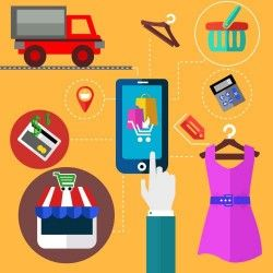 Mobile Online consumer shopping chart vector