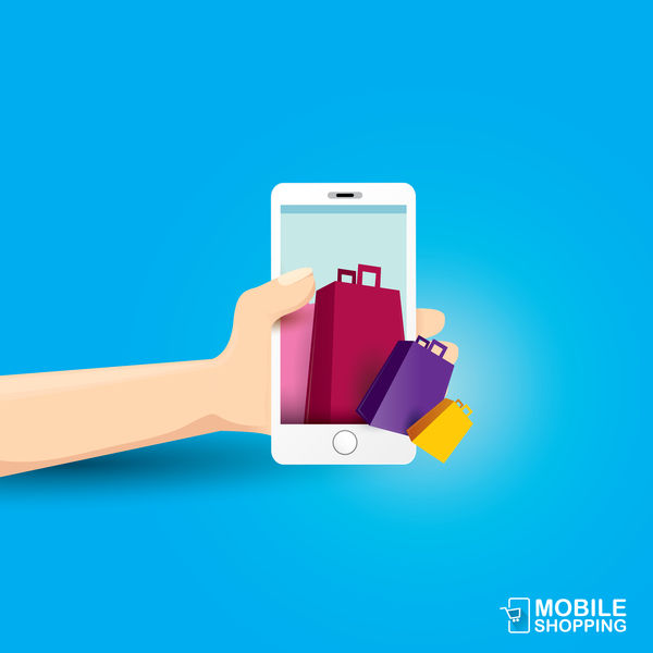 Mobile shopping business template vector 02