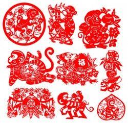 Monkey traditional art paper-cut vector pictures
