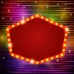 Neon label with shininy background vector 11