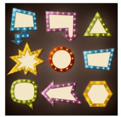Neon light advertising labels vector 02