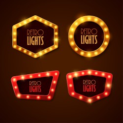Neon light advertising labels vector 03