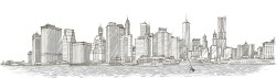 New York sketch illustration vector