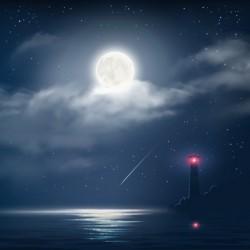 Night lighthouse vector