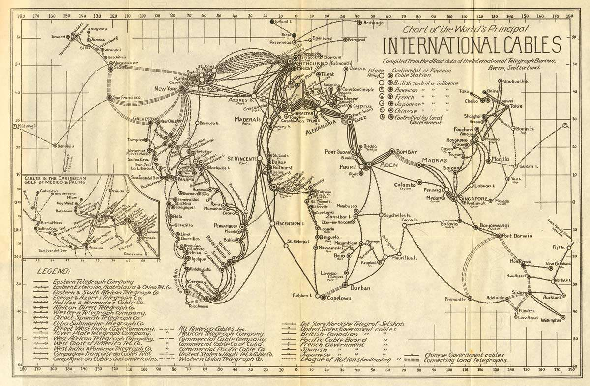 Old International Cables Map – Year 1924