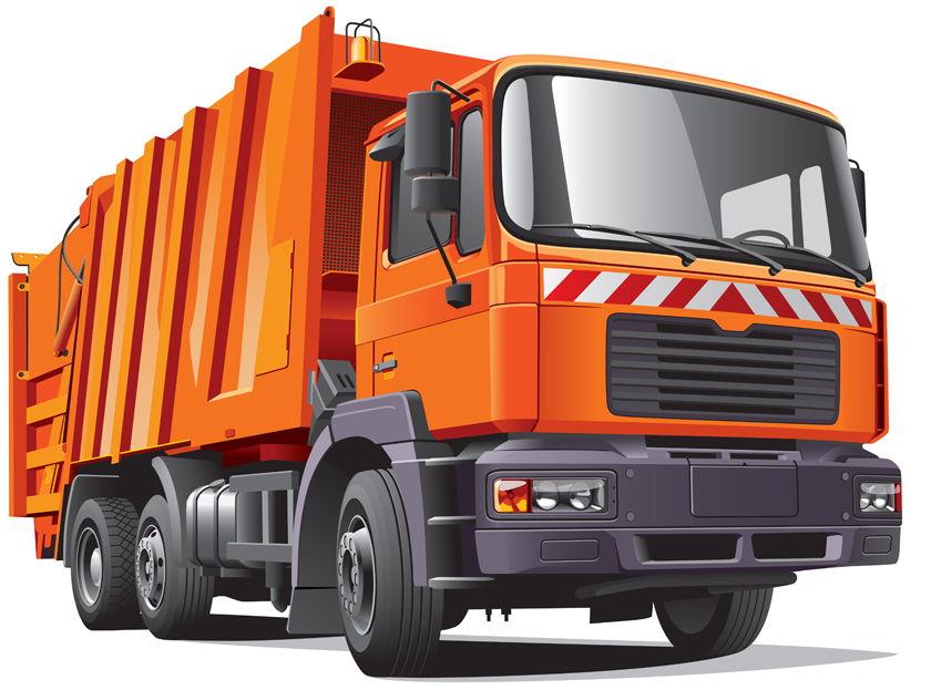 Orange garbage truck vector pattern