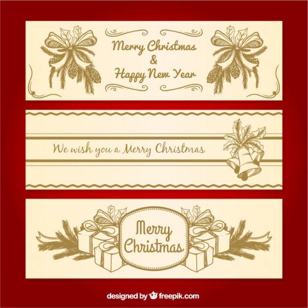 Ornamental banners with merry christmas gifts and bows sketches Vector | Free Download