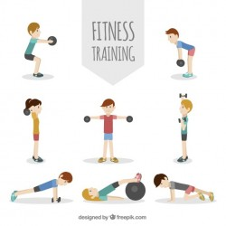 Pack of people exercising in flat design Vector