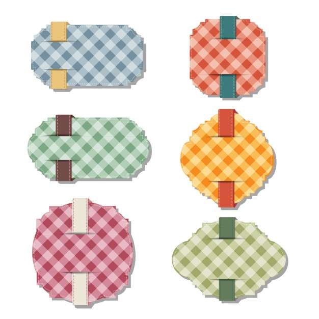 Pack of six labels with checkered backgrounds